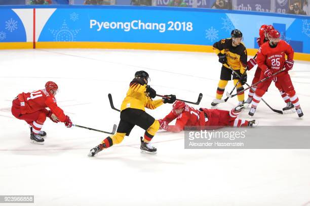Jonas Muller of Germany shoots and scores a goal in the third period against Olympic Athletes from Russia during the Men's Gold Medal Game on day...