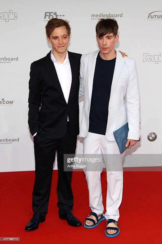 Jonas Nay (L) and Kilian Kerner arrive to the German Film Award 2015 Lola (Deutscher Filmpreis) at Messe Berlin on June 19, 2015 in Berlin, Germany.