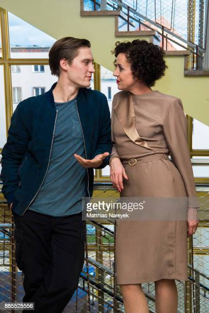 Jonas Nay and Maria Schrader attend the 'Deutschland 86' photo call at Stasimuseum on December 4 2017 in Berlin Germany