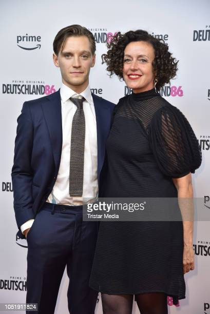 Jonas Nay and Maria Schrader attend the premiere for the film 'Deutschland86' at Kino International on October 11 2018 in Berlin Germany