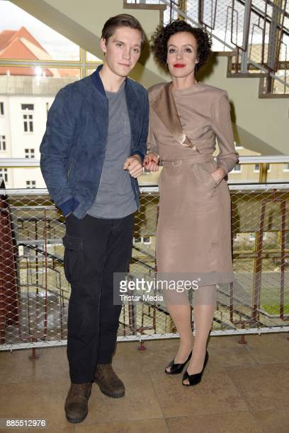 Jonas Nay and Maria Schrader during a set photo call for the TV series 'Deutschland86' on December 4 2017 in Berlin Germany