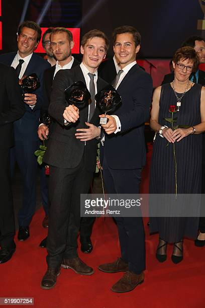 Jonas Nay and Tim Oliver Schultz pose with their awards at the 52th Grimme Award on April 8 2016 in Marl Germany