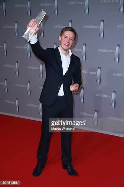 Jonas Nay presents his award during the German Television Award at Rheinterrasse on January 13 2016 in Duesseldorf Germany