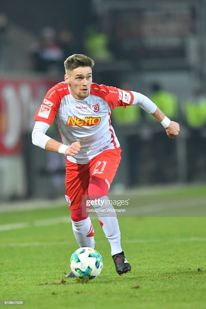 Jonas Nietfeld of Regensburg plays the ball during the Second Bundesliga match between SSV Jahn Regensburg and FC Ingolstadt 04 at Continental Arena on January 26, 2018 in Regensburg, Germany.