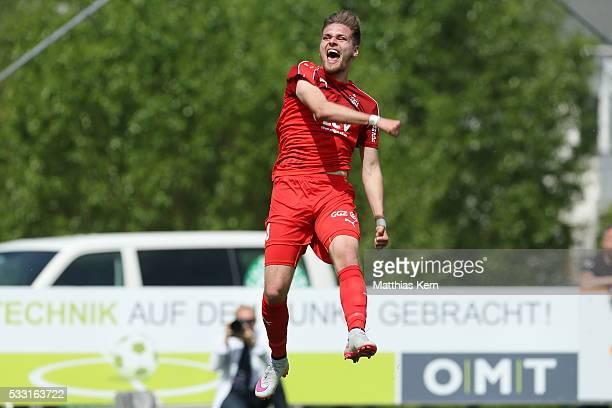 Jonas Nietfeld of Zwickau jubilates after scoring his teams first goal during the Regionalliga Nordost match between FC Schoenberg 95 and FSV Zwickau...