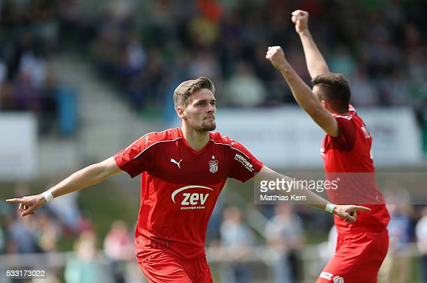 Jonas Nietfeld of Zwickau jubilates after scoring his teams second goal during the Regionalliga Nordost match between FC Schoenberg 95 and FSV...