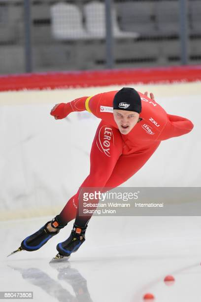 Jonas Nordhoy Kristensen of Norway performs during the Men 1500 Meter at the ISU ISU Junior World Cup Speed Skating at Max Aicher Arena on November...