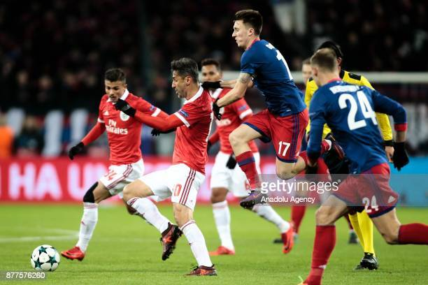 Jonas of Benfica and Aleksandr Golovin of CSKA Moscow in action during the UEFA Champions League Group A soccer match between CSKA Moscow and Benfica...