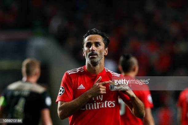 Jonas of Benfica celebrates his goal during Champions League 2018/19 match between SL Benfica vs Ajax Amsterdam in Lisbon on November 7 2018