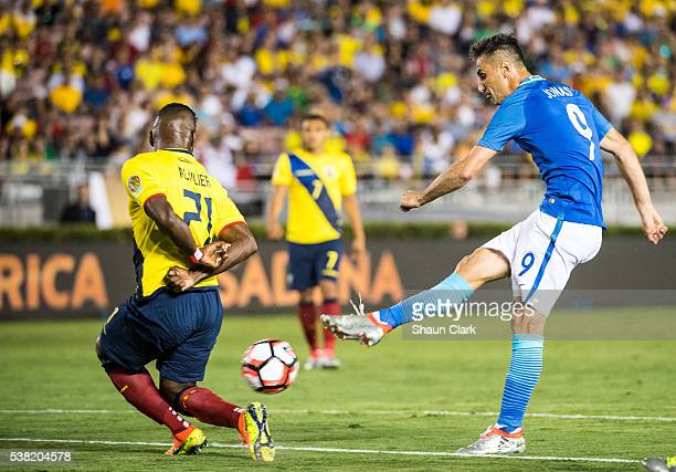 Jonas of Brazil takes a shot on goal during the Copa America Centenario Group B match between Brazil and Ecuador at the Rose Bowl on June 4 2016 in...