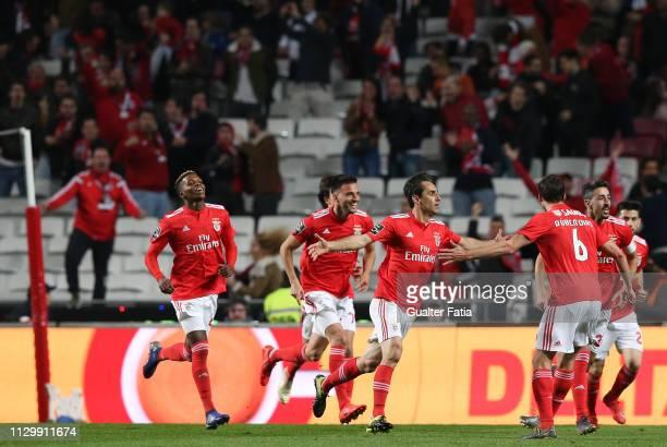 Jonas of SL Benfica celebrates after scoring a goal during the Liga NOS match between SL Benfica and Belenenses SAD at Estadio da Luz on March 11...