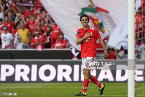 Jonas of SL Benfica celebrates after scoring a goal during the Liga NOS match between SL Benfica and Portimonense SC at Estadio da Luz on May 4 2019...