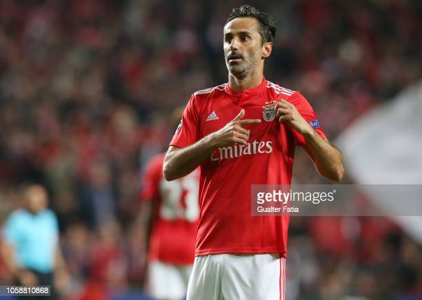 Jonas of SL Benfica celebrates after scoring a goal during the UEFA Champions League Group E match between SL Benfica and Ajax at Estadio da Luz on...