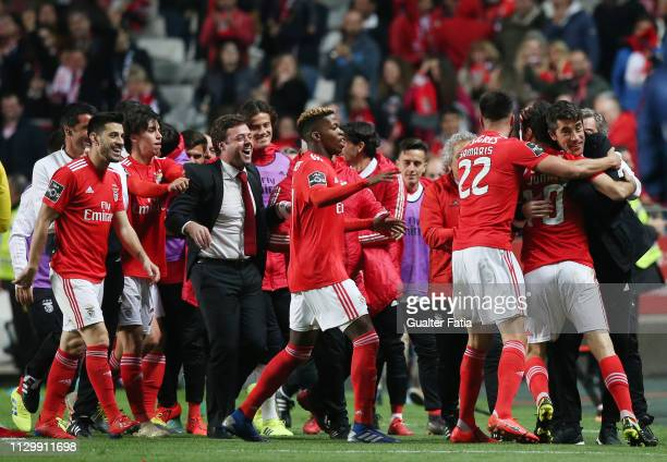 Jonas of SL Benfica celebrates with head coach Bruno Lage of SL Benfica after scoring a goal during the Liga NOS match between SL Benfica and...