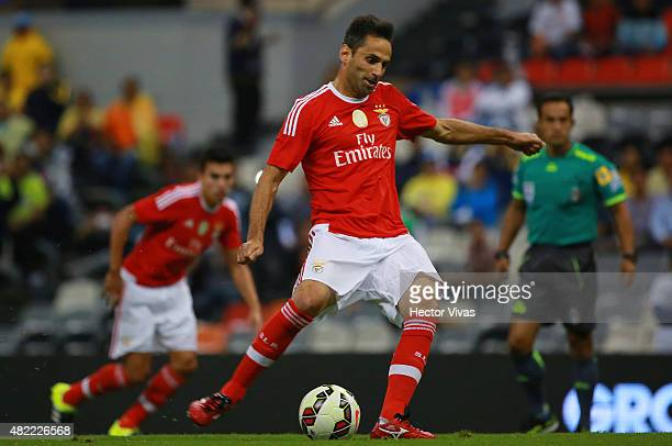 Jonas Oliveira of Benfica kicks the ball during a match between America and Benfica as part of the International Champions Cup 2015 at Azteca Stadium...