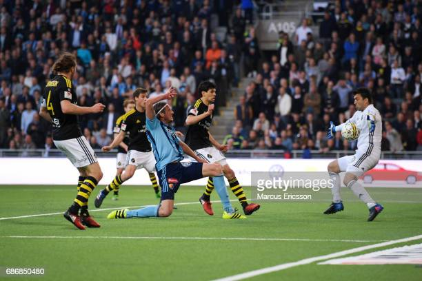 Jonas Olsson of Djurgardens IF shoots during the Allsvenskan match between Djurgardens IF and AIK at Tele2 Arena on May 22 2017 in Stockholm Sweden
