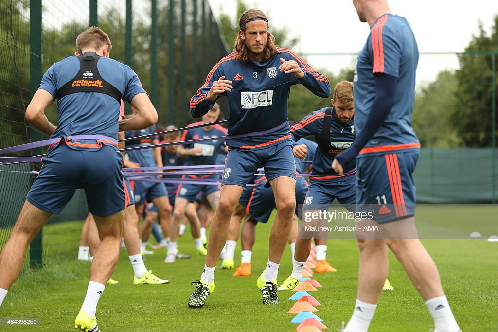 Jonas Olsson of West Bromwich Albion during the West Bromwich Albion training session at West Bromwich Albion Training Ground on August 18, 2015 in Walsall, England.