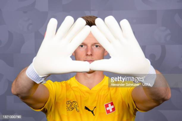 Jonas Omlin of Switzerland poses during the official UEFA Euro 2020 media access day on May 29, 2021 in Bad Ragaz, Switzerland.