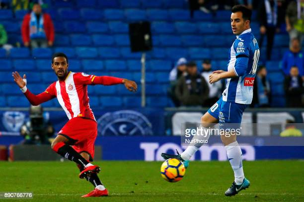 Jonas Ramalho and Jose Manuel Jurado during the La Liga match between RCD Espanyol and Girona FC in Barcelona on December 11 2017
