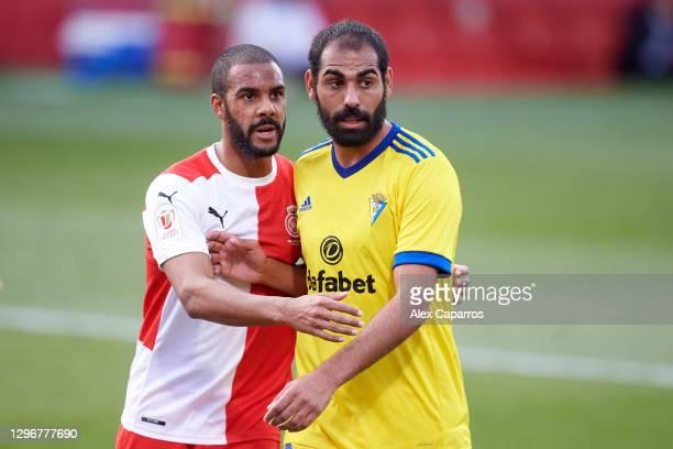 Jonas Ramalho of Girona FC and Rafael Gimenez 'Fali' of Cadiz CF look on during the Copa del Rey round of 32 match between Girona FC and Cadiz CF at...