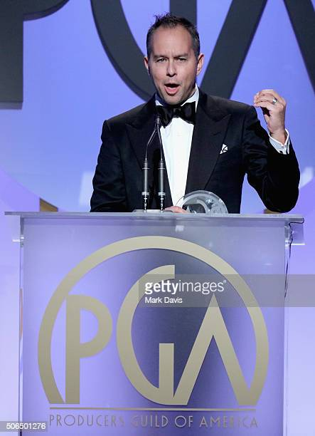 Jonas Rivera accepts the award for Outstanding Producer of Animated Theatrical Motion Pictures onstage at the 27th Annual Producers Guild Awards at...