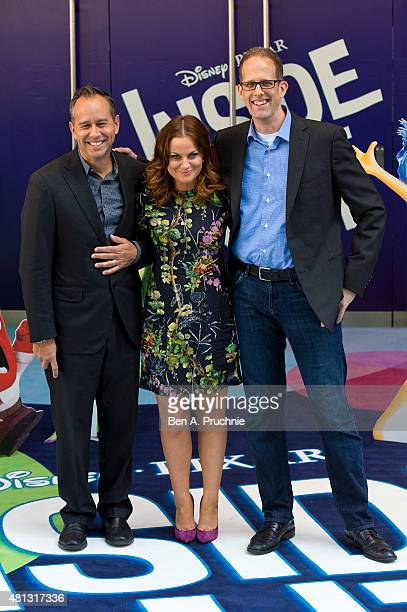 Jonas Rivera Amy Poehler and Pete Docter attends the UK Gala Screening of 'Inside Out' at Odeon Leicester Square on July 19 2015 in London England