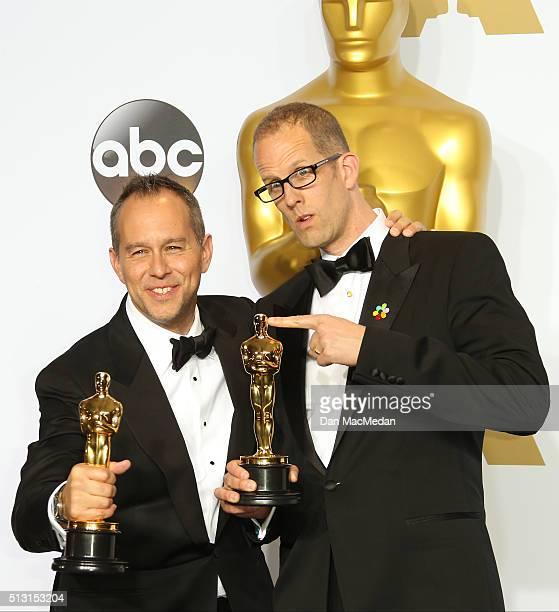 Jonas Rivera and Pete Docter winners for Best Animated Feature Film for 'Inside Out' pose in the press room at the 88th Annual Academy Awards at...