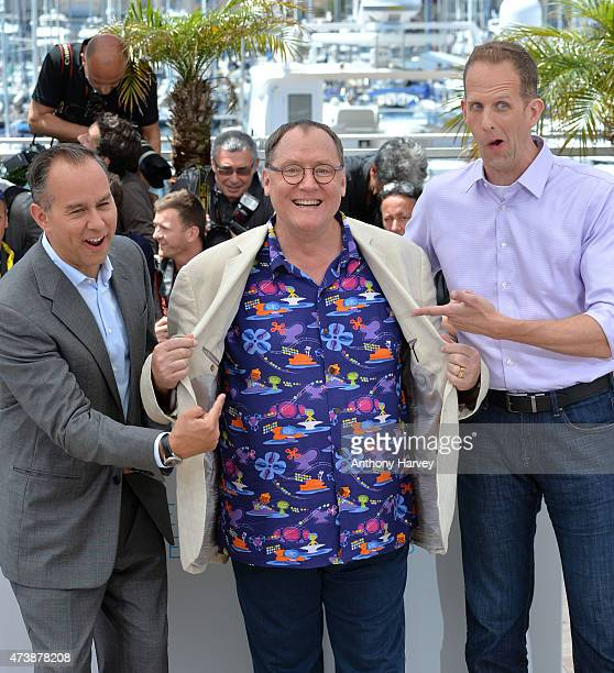 Jonas Rivera John Lasseter and Pete Docter attend the Inside Out photocall during the 68th annual Cannes Film Festival on May 18 2015 in Cannes France