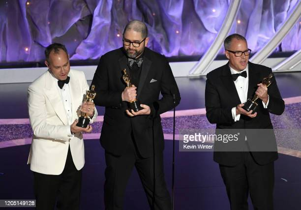 Jonas Rivera, Josh Cooley, and Mark Nielsen accept the Animated Feature Film award for 'Toy Story 4' onstage during the 92nd Annual Academy Awards at...