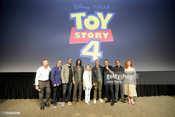 Jonas Rivera Mark Nielsen Josh Cooley Keanu Reeves Annie Potts Tony Hale Tom Hanks Tim Allen and Christina Hendricks surprise fans at an early...