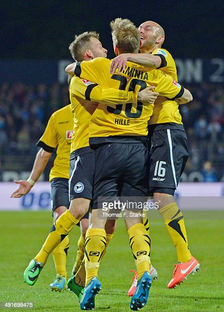 Jonas Strifler, Sebastian Hille and Philipp Riese and Kacper Przybylko of Bielefeld celebrate their teams third goal during the Second Bundesliga...