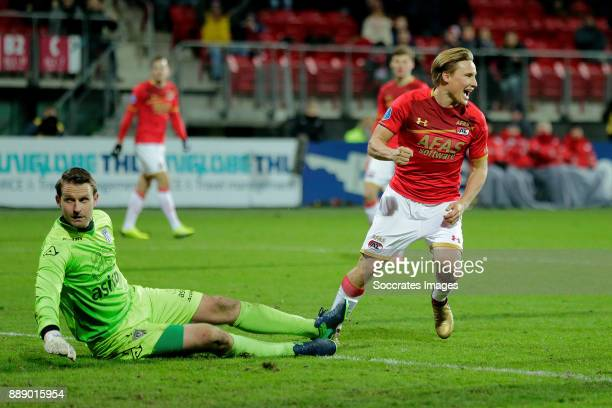 Jonas Svensson of AZ Alkmaar celebrates 50 during the Dutch Eredivisie match between AZ Alkmaar v Heracles Almelo at the AFAS Stadium on December 9...