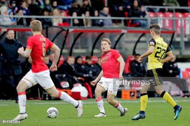 Jonas Svensson of AZ Alkmaar Donis Avdijaj of Roda JC during the Dutch Eredivisie match between AZ Alkmaar v Roda JC at the AFAS Stadium on February...
