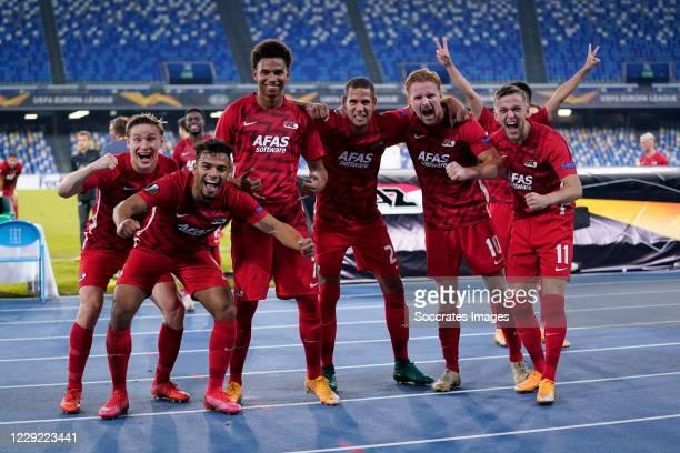 Jonas Svensson of AZ Alkmaar, Owen Wijndal of AZ Alkmaar, Calvin Stengs of AZ Alkmaar, Ramon Leeuwin of AZ Alkmaar, Dani de Wit of AZ Alkmaar, Jesper...