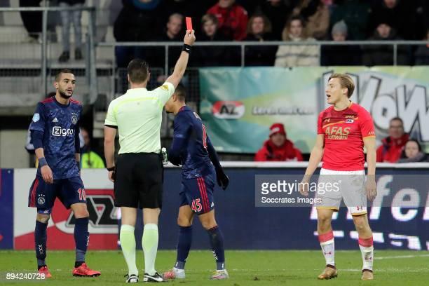 Jonas Svensson of AZ Alkmaar receives a red card from referee Danny Makkelie during the Dutch Eredivisie match between AZ Alkmaar v Ajax at the AFAS...