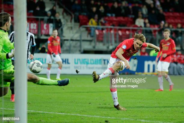 Jonas Svensson of AZ Alkmaar scores the fifth goal to make it 50 during the Dutch Eredivisie match between AZ Alkmaar v Heracles Almelo at the AFAS...
