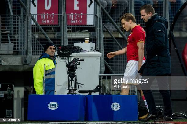 Jonas Svensson of AZ and Frank Zaal during the Dutch Eredivisie match between AZ Alkmaar and Ajax Amsterdam at AFAS stadium on December 17 2017 in...