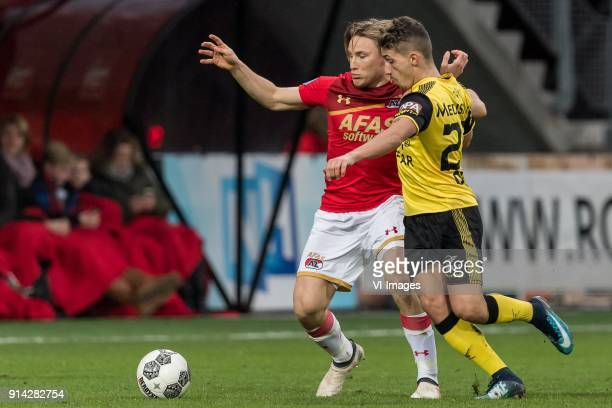 Jonas Svensson of AZ Donis Avdijaj of Roda JC during the Dutch Eredivisie match between AZ Alkmaar and Roda JC Kerkrade at AFAS stadium on February...