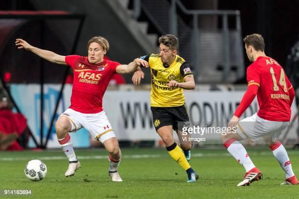 Jonas Svensson of AZ Donis Avdijaj of Roda JC Teun Koopmeiners of AZ during the Dutch Eredivisie match between AZ Alkmaar and Roda JC Kerkrade at...