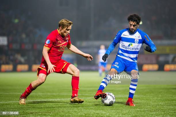 Jonas Svensson of AZ Youness Mokhtar of PEC Zwolle during the Dutch Eredivisie match between PEC Zwolle and AZ Alkmaar at the MAC3Park stadium on...