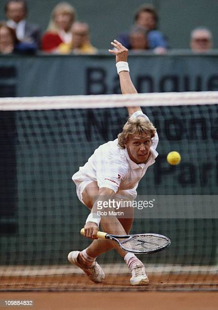 Jonas Svensson of Sweden during his Men's Singles semi final match against Andre Agassi during the French Open Tennis Championship on 8th June 1990...