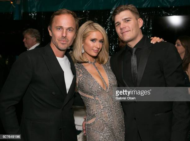 Jonas Tahlin Paris Hilton and Chris Zylka attend the Treats annual Oscars party at the private residence of Jonas Tahlin CEO of Absolut Elyx on March...