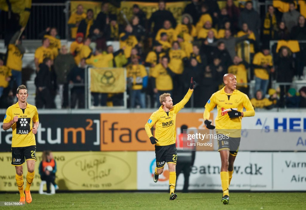 Jonas Thorsen of AC Horsens celebrates after scoring their first goal during the Danish Alka Superliga match between Randers FC and Hobro IK at BioNutria Park on February 18, 2018 in Randers, Denmark.