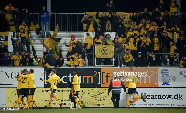 Jonas Thorsen of AC Horsens celebrates after scoring their first goal during the Danish Alka Superliga match between AC Horsens and Randers FC at...