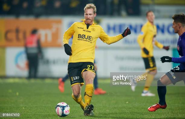 Jonas Thorsen of AC Horsens controls the ball during the Danish Alka Superliga match between AC Horsens and FC Midtjylland at CASA Arena Horsens on...