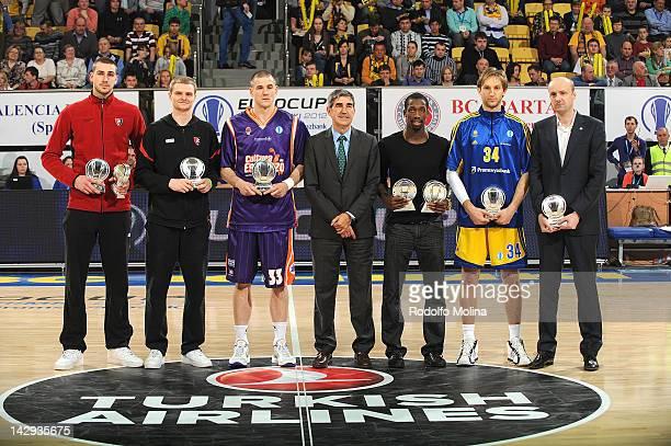 Jonas Valanciunas of Lietuvos Rytas, Renaldas Seibutis of Lietuvos Rytas, Nik Caner-Medley of Valencia Basket, Jordi Bertomeu, CEO of Euroleague...
