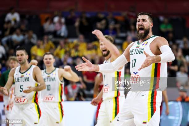 Jonas Valanciunas of Lithuania celebrates a point during the 2019 FIBA World Cup first round match between Lithuania and Canada at Dongguan...