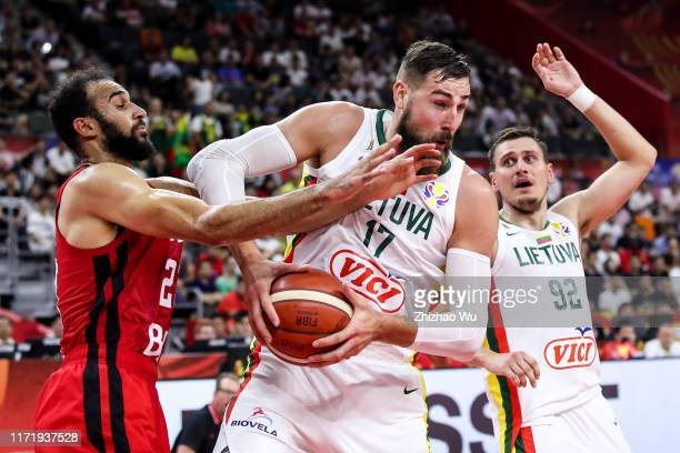 Jonas Valanciunas of Lithuania competes for the ball during the 2019 FIBA World Cup first round match between Lithuania and Canada at Dongguan...
