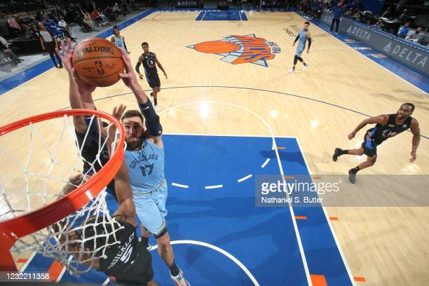 Jonas Valanciunas of the Memphis Grizzlies dunks the ball during the game against the New York Knicks on April 9, 2021 at Madison Square Garden in...