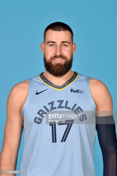Jonas Valanciunas of the Memphis Grizzlies poses for a head shot during media day on September 30, 2019 at the FedEx Forum in Memphis, Tennessee....